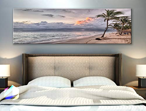 BoxColors - Single panel 3 Size Options Art Canvas Print Palm coconut tree Nature beach tropical ocean seascape sea relax sunset Wall Home Office decor (framed 1.5