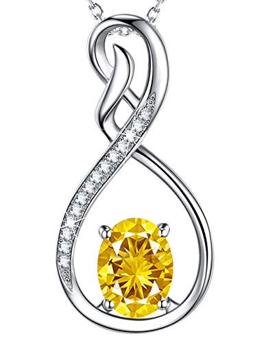 Oval Citrine Pendant Set - Love Infinity Charm Necklace Jewelry Birthday Gifts for Women LC Yellow Citrine Pendant Sterling Silver Anniversary Necklace Gifts for Her Wife Girlfriend Grandma Granddaughter Daughter 20