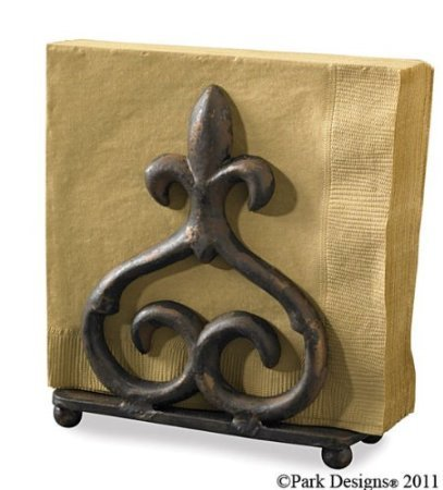 Park Designs Rue Du Marche Fleur De Lis Cast Iron Napkin Holder Red Over Black by Park Designs