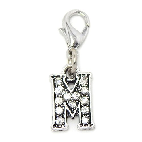 """Pro Jewelry Clip-on """"Alphabet Letter 'M' w/ Crystals"""" Charm Dangling"""