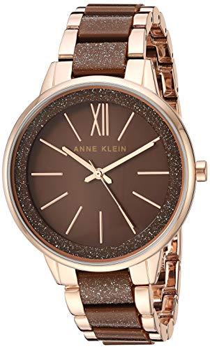 Anne Klein Women's AK/1412RGBN Rose Gold-Tone and Brown Shimmer Bracelet Watch ()
