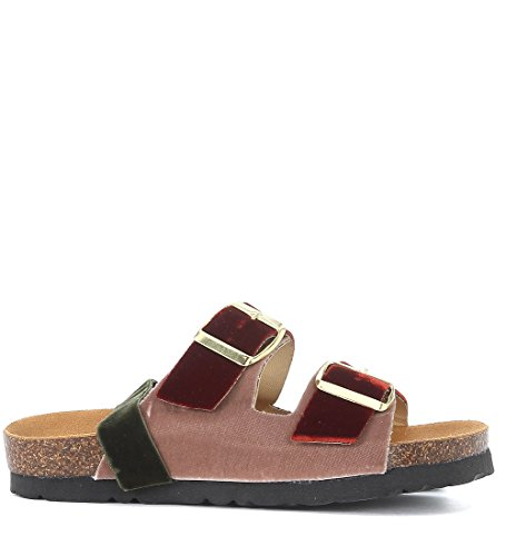Gia Couture Women's Oslo Pink and Red Velvet Sandal with Velvet Green Ribbon Red AqOOvpW3B