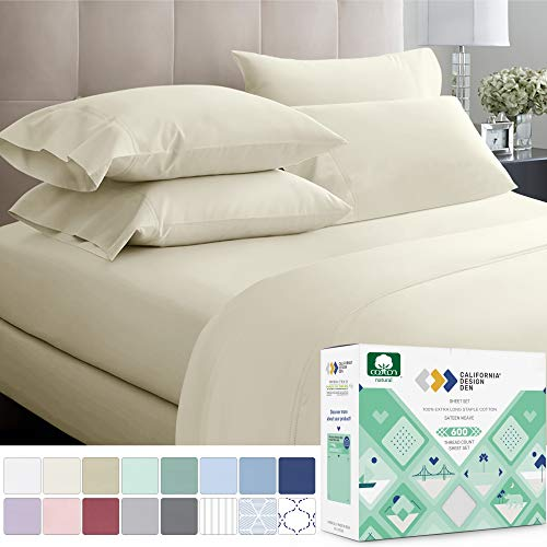 600-Thread-Count Best 100% Cotton Bed Sheet Set - Ivory Extra Long-staple Cotton Queen Sheet For Bed, Fits Mattress 16'' Deep Pocket, Breathable & Sateen Weave 4-Piece Sheets and Pillowcases Set