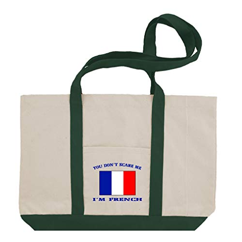 (You Don't Scare Me I'm French Cotton Canvas Boat Tote Bag Tote - Green)