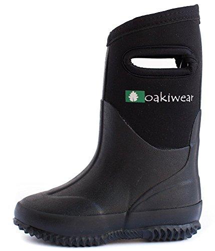 OAKI Kid's Neoprene Rain Boots, Snow Boots, Muck Rain Boots, Black 8T
