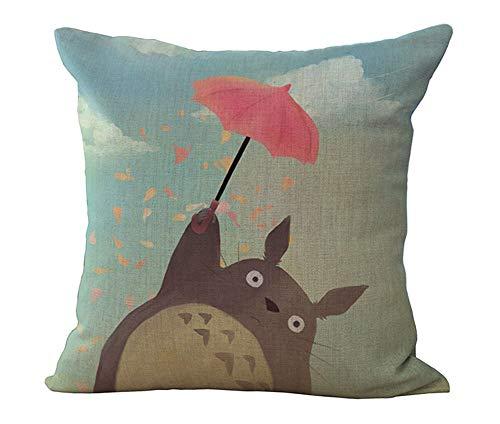 HomeTaste Cute Totoro Decorative Linen Throw Pillow Cover 18×18