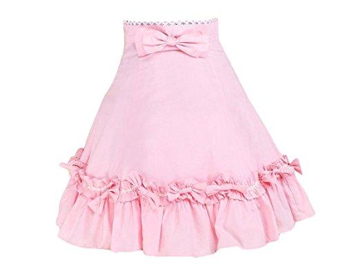 (Antaina Pink Cotton Victorian Floral Ruffled Bow Lolita Short Dress Skirt,XS)