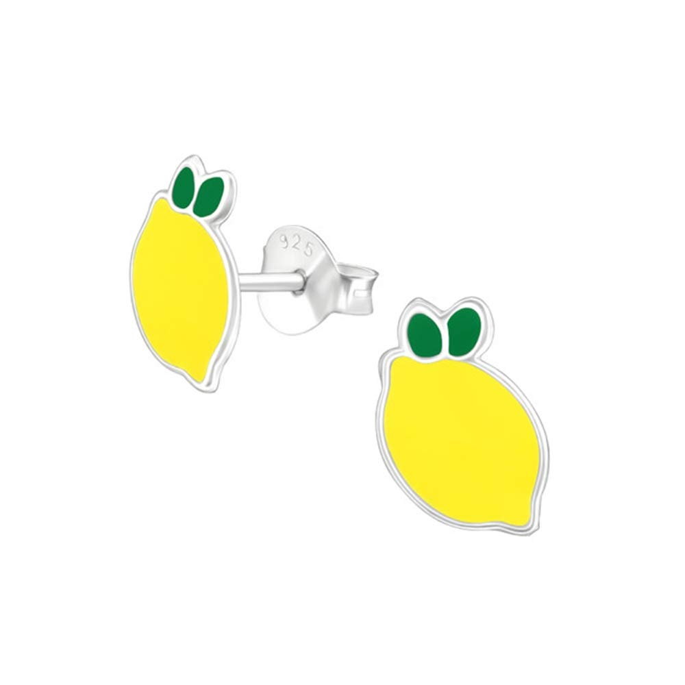 Girls Lemon Colorful Ear Studs 925 Sterling Silver