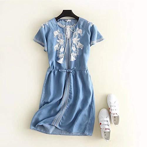 - Women Summer Denim Dress Casual Denim Round Neck Loose Mini Dress Embroidery Floral Tie Waist Slim Skirt Dress Half Sleeve Denim Girls Dresses Belted Denim High-Low Chambray DressL
