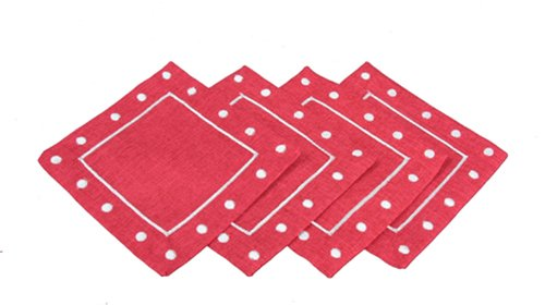 Polka Dot Party Coasters - Xia Home Fashions Polka Dot Embroidered Easy Care Square Coaster, 6-Inch, Red, Set of 4