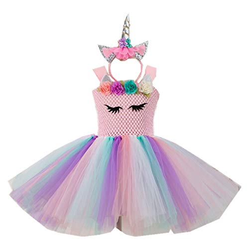 Kids Girls Tutu Unicorn Party Fancy Dress for Cosplay Festival Performance Birthday Wedding Carnival Halloween Ball Gown (Color2, 6-7 Years)]()