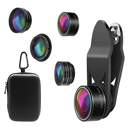 ORIA 5 in 1 Clip-On Handy Objektiv Kit, Professionel CPL Zirkular Polarisiert Len + 2X Teleobjektiv + 0.63X…