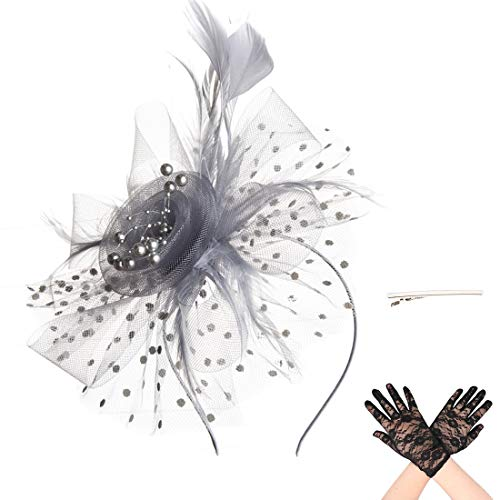 SAFERIN Fascinators Hat Flower Mesh Feathers on a Headband and a Clip Church Kentucky Derby Wedding Tea Party Headwear for Girls and Women (TA7-Grey with Glove)