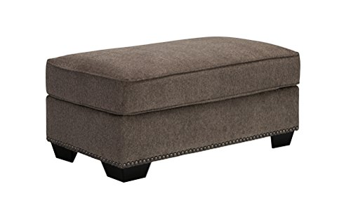 Benchcraft – Emelen Contemporary Ottoman – Polyester Upholstered – Alloy Gray
