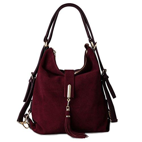 Firstider Hobo purple Shoulder Leather Eisure Dark Handbag Women Messenger Suede Bag Nubuck rfrc1pSW