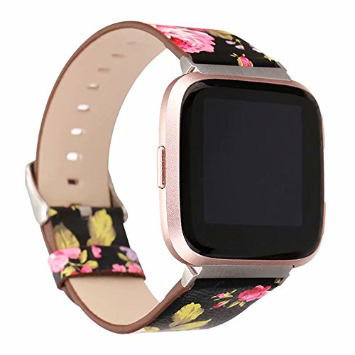 Price comparison product image Tuscom Fresh Printing Leather Accessory Band Bracelet Quick Release Watchband, Women Strap for Fitbit Versa(5 Colors) (A)