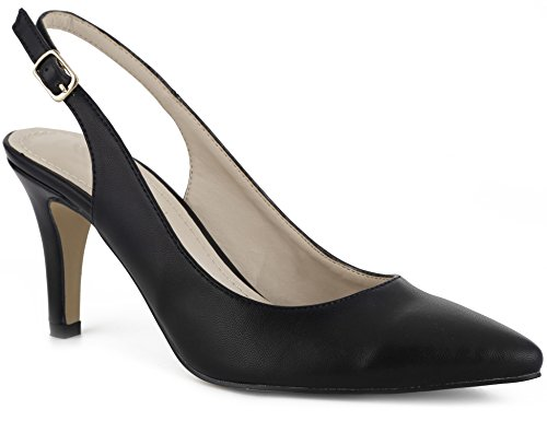 Ladies Slingback Shoe - MaxMuxun Women Court Shoes Sexy Closed Toe Kitten Heels Black Comfortable Slingback Dress Pumps Size 9