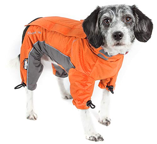 DOGHELIOS 'Blizzard' Full-Bodied Comfort-Fitted Adjustable and 3M Reflective Winter Insulated Pet Dog Coat Jacket w/ Blackshark Technology, X-Small, Orange
