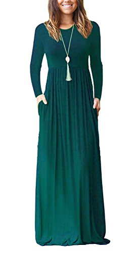AUSELILY Women Long Sleeve Loose Plain Long Maxi Casual Dress with Pockets (L, Dark Green)