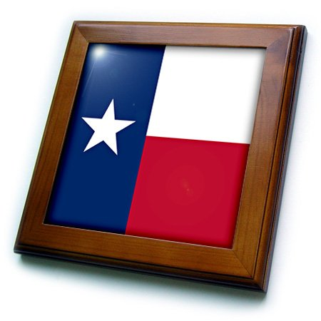 3dRose ft_158447_1 Flag of Texas TX Us American United State of America Usa Blue Red White The Lone Star Flag Framed Tile, 8 by 8-Inch