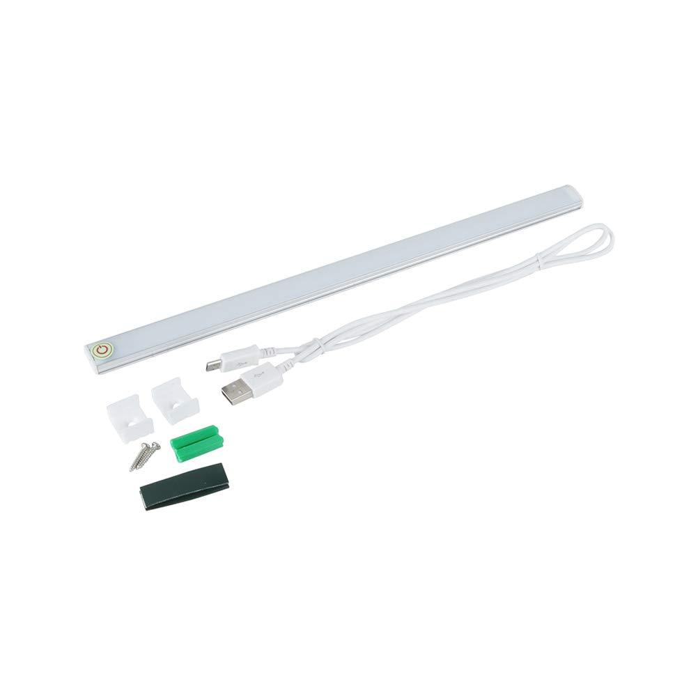 LEDMOMO Barra de luz del sensor táctil del USB, 2W debajo de las luces del gabinete Interfaz de luz intermitente sin escalonado del espejo 21LED con el regulador (luz blanca) [Clase de eficiencia energética A+]