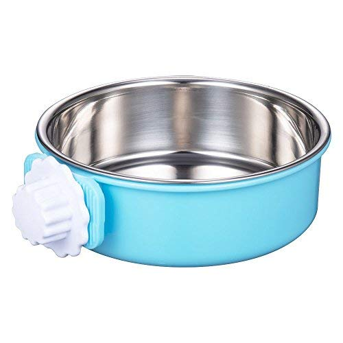 DeaLott Crate Dog Bowl, Removable Stainless Steel Coop Cup Hanging Pet Cage Bowl Large Water Food Feeder for Dogs Cats Rabbits,Birds-Blue  (Pet Water Crate)