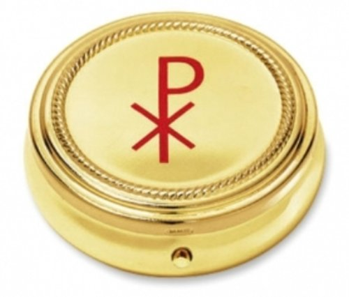 Religious Minister Gift Chi Rho Cross 2 1/4 Inch Gold Finish 10 Host Home Hospital Traveling Pyx by Religious Gifts