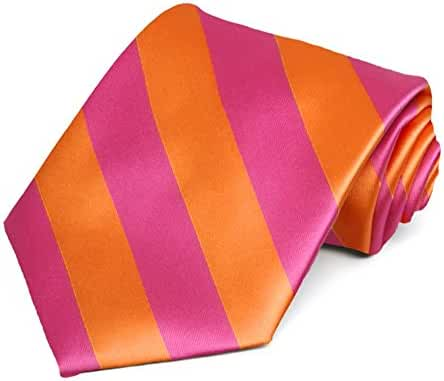 Hot Pink and Orange Striped Tie