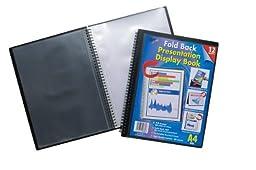 A4 Easel Fold Back Flip Presentation Twin Wire Black Display Book - 12 Pockets