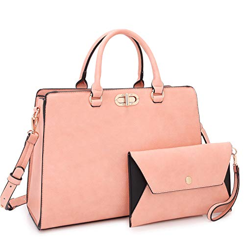 (Dasein Women Fashion Handbags Tote Purses Shoulder Bags Top Handle Satchel Purse Set 2pcs Pink)