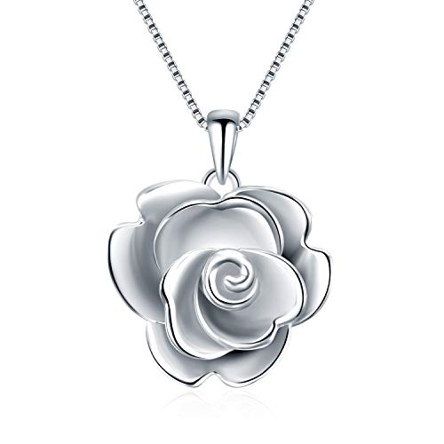 - Roses Necklace for Women Teen Girls Sterling Silver I Love You Forever Rose Flower Pendant Necklace Jewelry Gifts Today