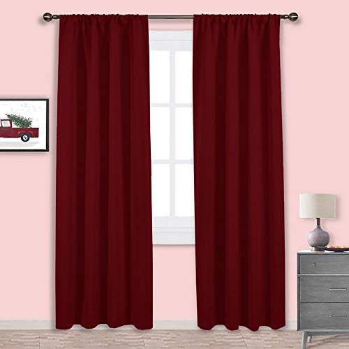 NICETOWN Burgundy Curtains Blackout Drapes - Home Decorations Thermal Insulated Solid Blackout Living Room Curtains/Draperies for Christmas & Thanksgiving Present (One Set,42 x 84-Inch,Red)