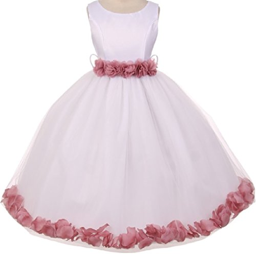 - Little Girls Elegant Satin Ribbon Sash Petals Flowers Girls Dresses White Mauve 6