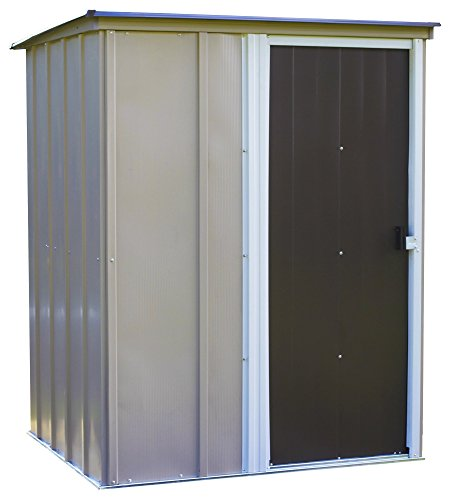 Arrow Brentwood Pent Roof Steel Storage Shed, Coffee/Taupe/Eggshell, 5 x 4 ft. (Living Outdoor Brentwood)