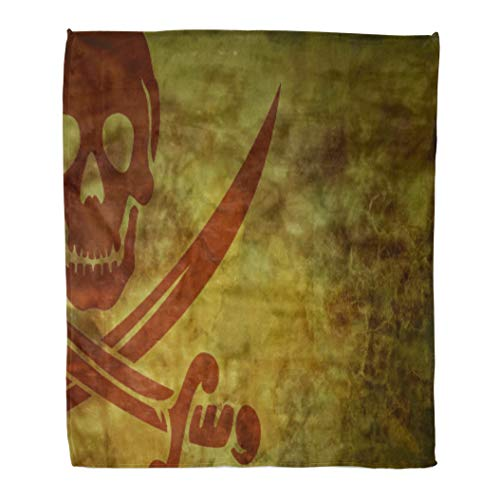 Golee Throw Blanket Piracy Jolly Rodger Pirate Room Caribbean Halloween Sailing Sea War 50x60 Inches Warm Fuzzy Soft Blanket for Bed Sofa