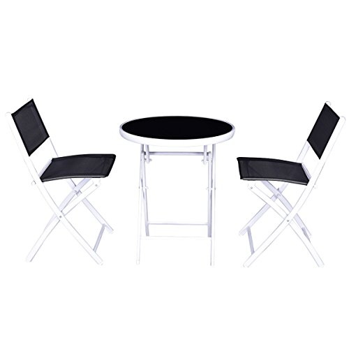 Folding Bistro Table Chairs Set Garden Backyard Patio Furniture Black 3 PCS by billionese