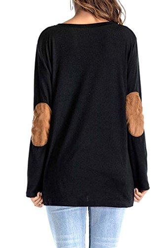 a Lunga Donna Estivo Maglie Maglietta con Nero Casual Tops Manica Larghi Camicetta Girocollo Camicie T Pulsante Shirts Blusa JackenLOVE ZRwOqSR