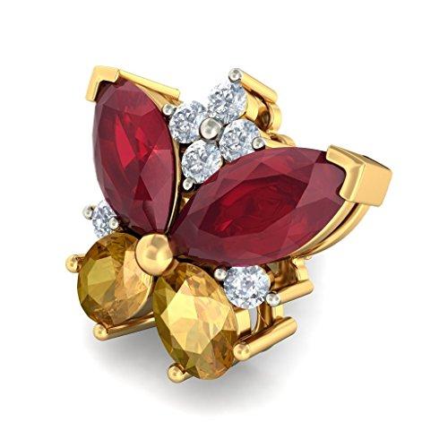 18K Or jaune 0.18CT TW White-diamond (IJ | SI) et rubis Boucles d'oreille à tige