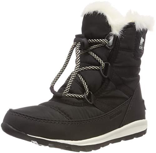 Sorel Youth Snow - SOREL Girls' Youth Whitney Short Lace Snow Boot, Black, sea Salt, 6 M US Big Kid