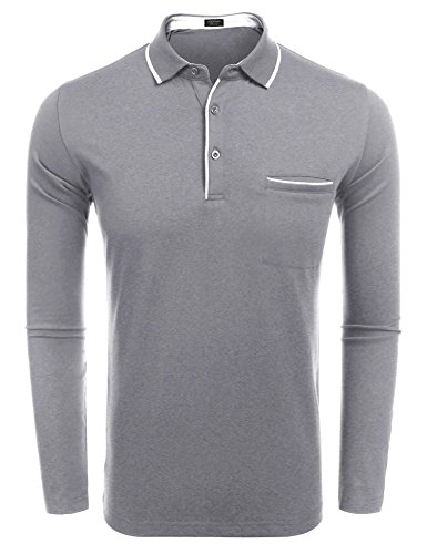COOFANDY Men's Long Sleeve Polo Shirt Classic Business for sale  Delivered anywhere in Canada