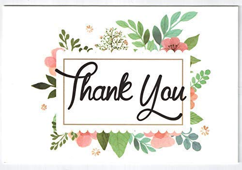 Thank You Cards Pack Of 100 - Blank Thank You Notes - Floral Water Colors - 4 X 6 Inches Thick White Note And Envelope - Personal And Business Use - Wedding And Baby Showers Photo #8