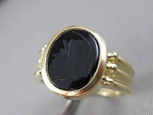 31ca7658e91e1 Milano Jewelers AAA BLACK ONYX 14KT YELLOW GOLD 3D CARVED ROMAN ...