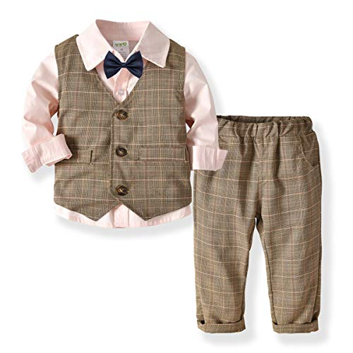 Little Boys Gentleman Formal Suit Set with Vest, Pant, Shirt, and Bow Tie,Baby Boys Long Sleeve Wear Weding 4Pcs Outfit (Pink, 100/3-4T)