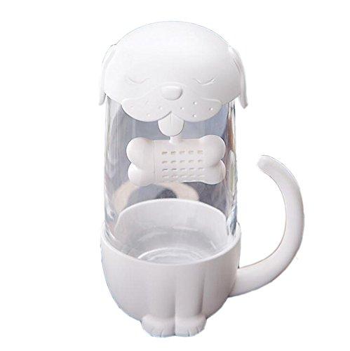 Bones Bold Type - TiLarry 10oz Cut Cat Dog Glass Cup Tea Mug With Fish Bone Infuser Strainer Filter (Dog)