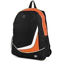 """SumacLife Multiple Nylon Athletic Ultra-Lightweight Sport Backpack / Shoulder Bag / School Backpack / Trave Bag / Laptop Bag Fits 14"""" 15"""" inch(Orange/Black)"""
