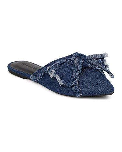 Wild Diva Women Denim Bow Tie Mule - Casual, Dressy, Everyday - Pointy Toe Flat - GG04 by Blue (Size: (Denim Mules)