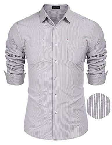 - COOFANDY Men's Business Dress Shirt Long Sleeve Slim Fit Striped Button Down Shirt Pinstripe Oxford Shirt
