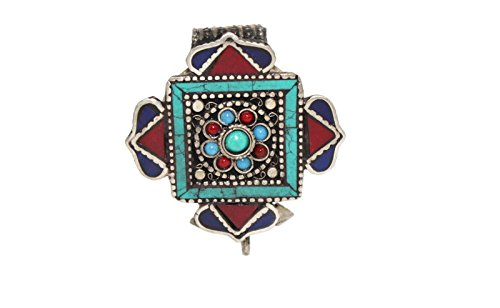 (Gau, Prayer box pendant, Handmade pendant, Turquoise pendant, Coral Pendant, Lapis Pendant, Tibetan pendant (BOX1))