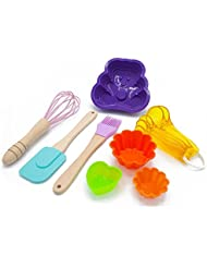 Kids Kitchen and Baking Set, Real Kitchen Set - Silicone Spatula, Measuring Spoons, Cupcake Mold, Whisk, Baking Cups - Perfect Christmas Gift for Kids or Teens! (Purple Bear)