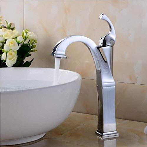 JingJingnet 真鍮クロームトール蛇口浴室の蛇口バニティ容器シンクミキサータップコールドとホットクロームトールタップ (Color : C) B07RKFJ9TR C